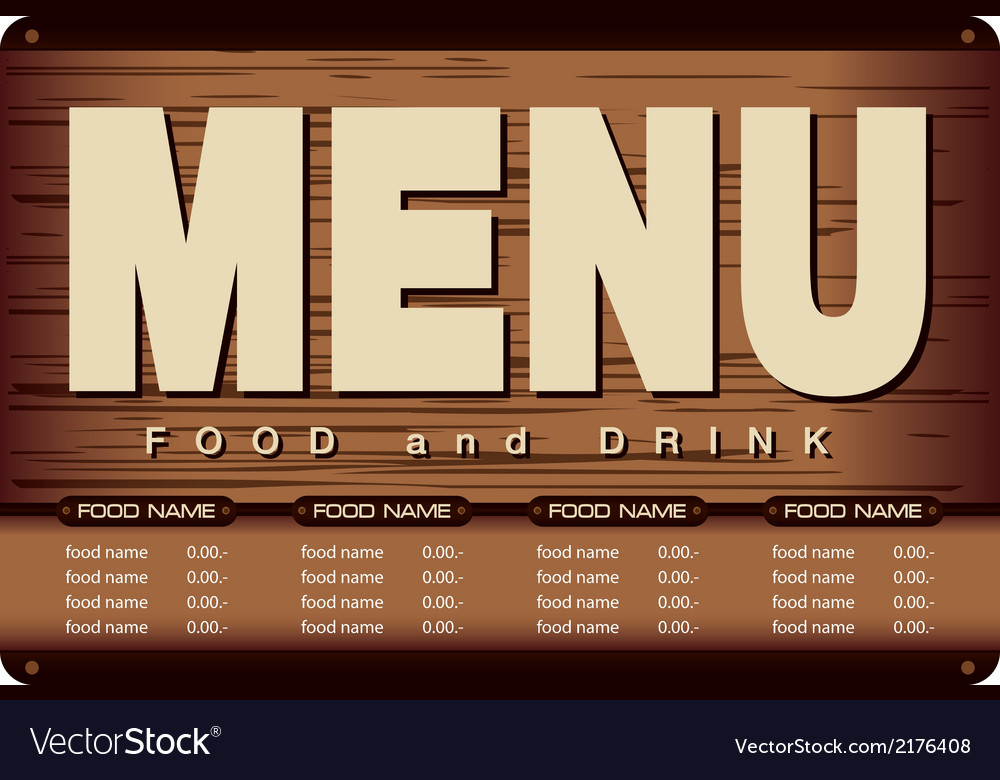 Menu woode beckground design vector | Price: 1 Credit (USD $1)