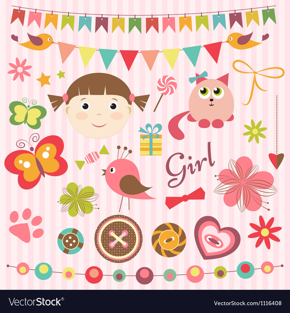 Scrapbook baby girl set vector | Price: 3 Credit (USD $3)
