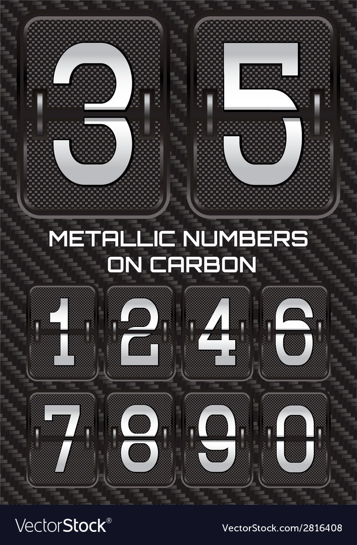 Set of metallic numbers on carbon background vector | Price: 1 Credit (USD $1)