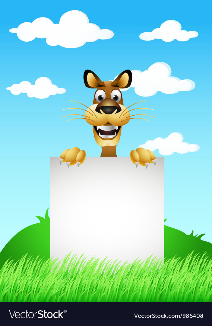 Skinny cute cartoon dog with blank sign vector | Price: 3 Credit (USD $3)