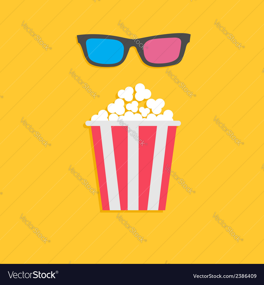 3d glasses and big popcorn cinema icon in flat dsi vector | Price: 1 Credit (USD $1)