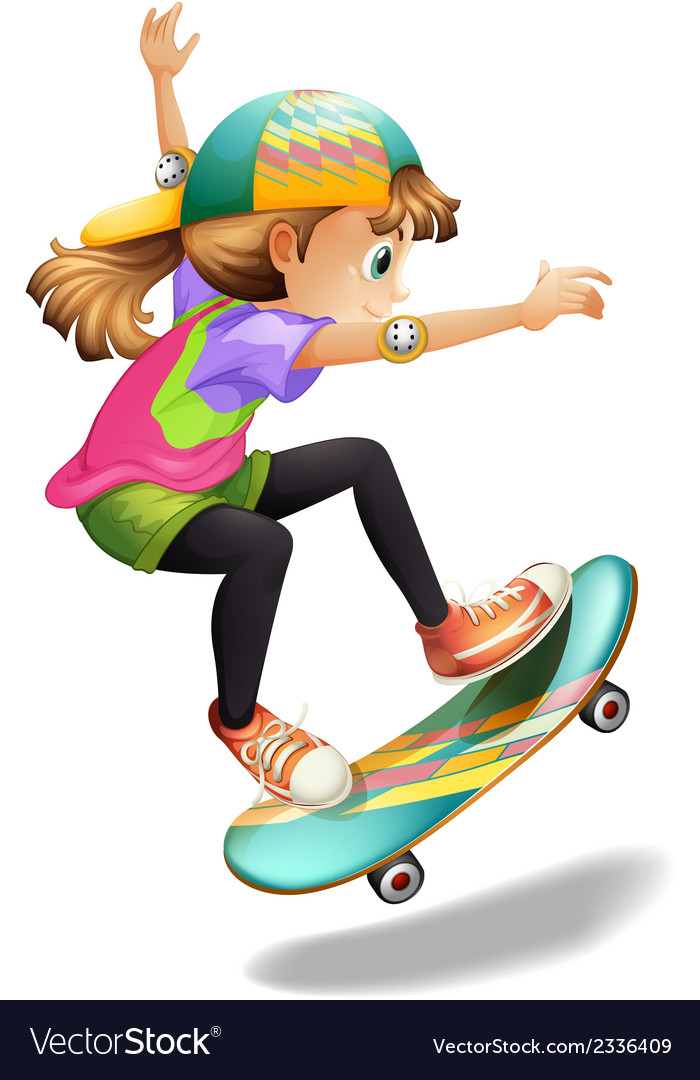 A lady with a colourful skateboard vector | Price: 1 Credit (USD $1)
