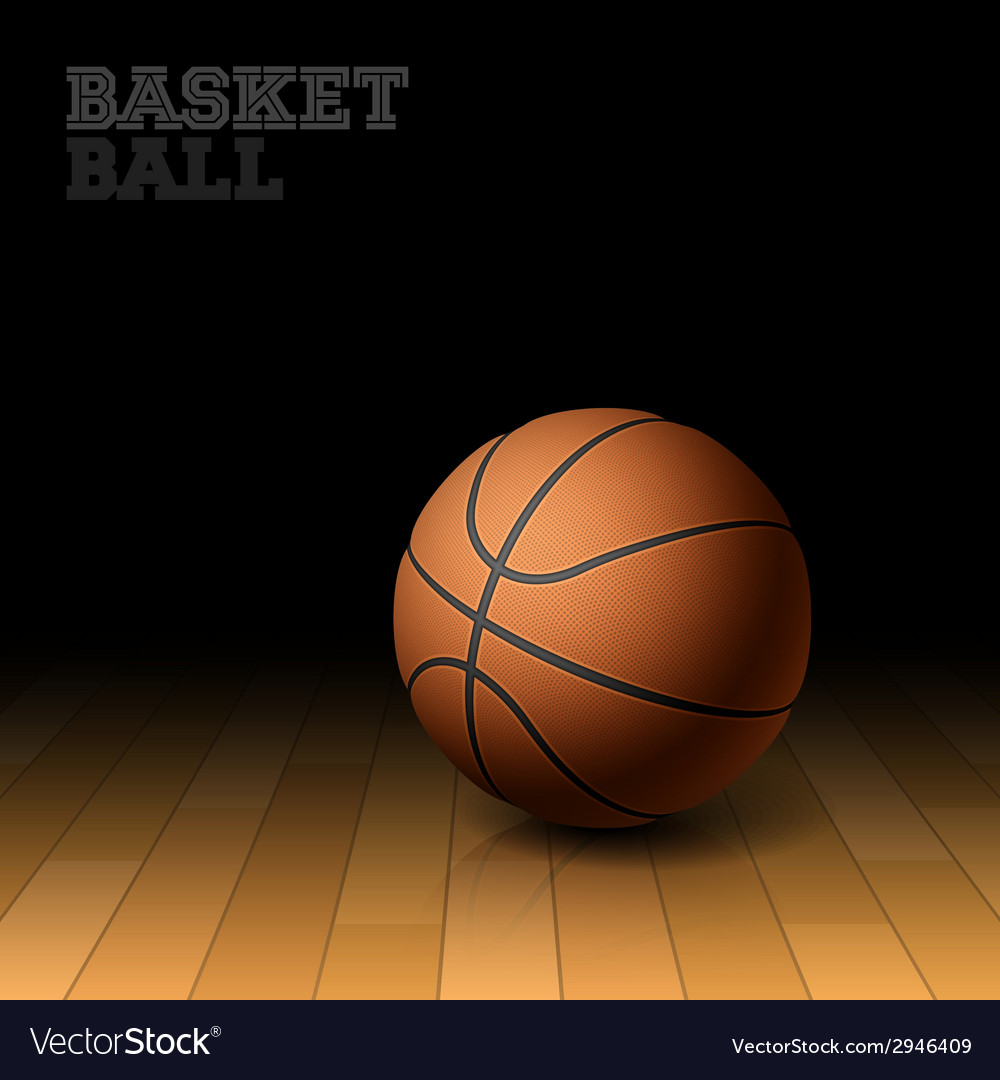 Basketball on a hardwood court floor vector | Price: 1 Credit (USD $1)