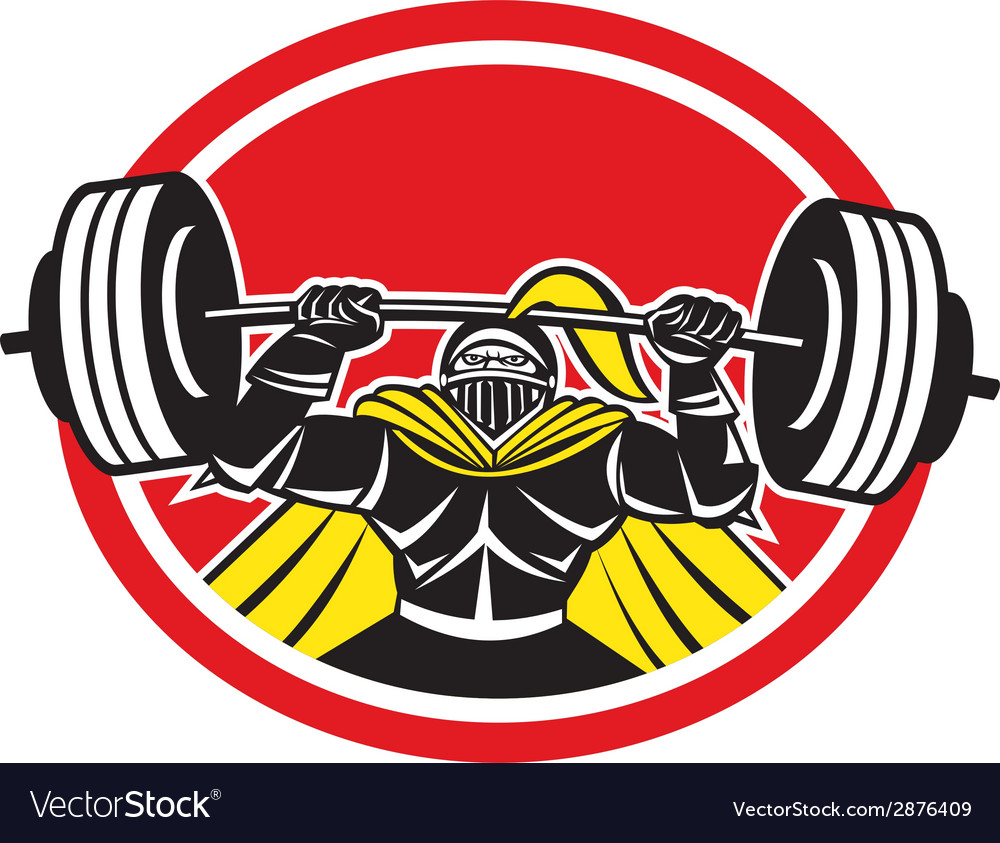 Black knight lifting barbell front circle retro vector | Price: 1 Credit (USD $1)