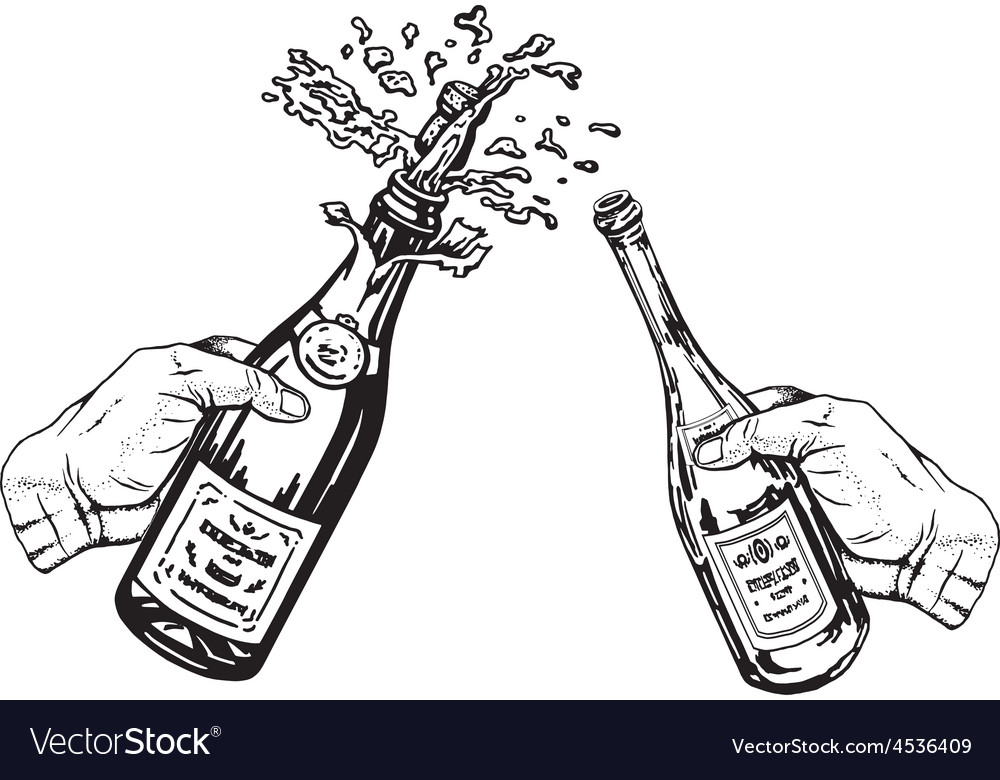Bottle of champagne and bottle of wine in hands vector | Price: 1 Credit (USD $1)