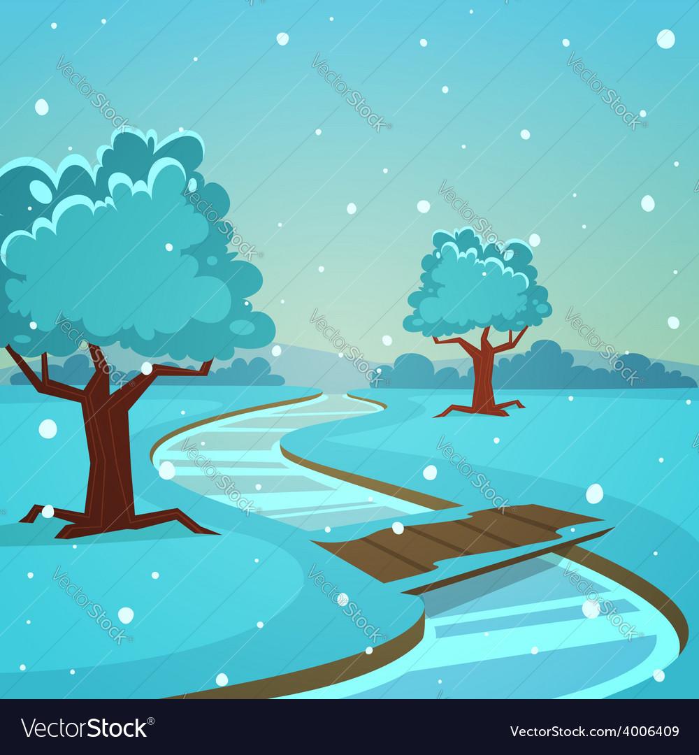 Cartoon winter landscape vector   Price: 5 Credit (USD $5)