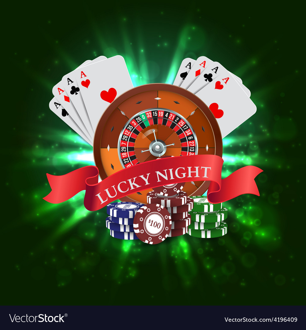 Casino roulette with red ribbon lucky night vector   Price: 1 Credit (USD $1)