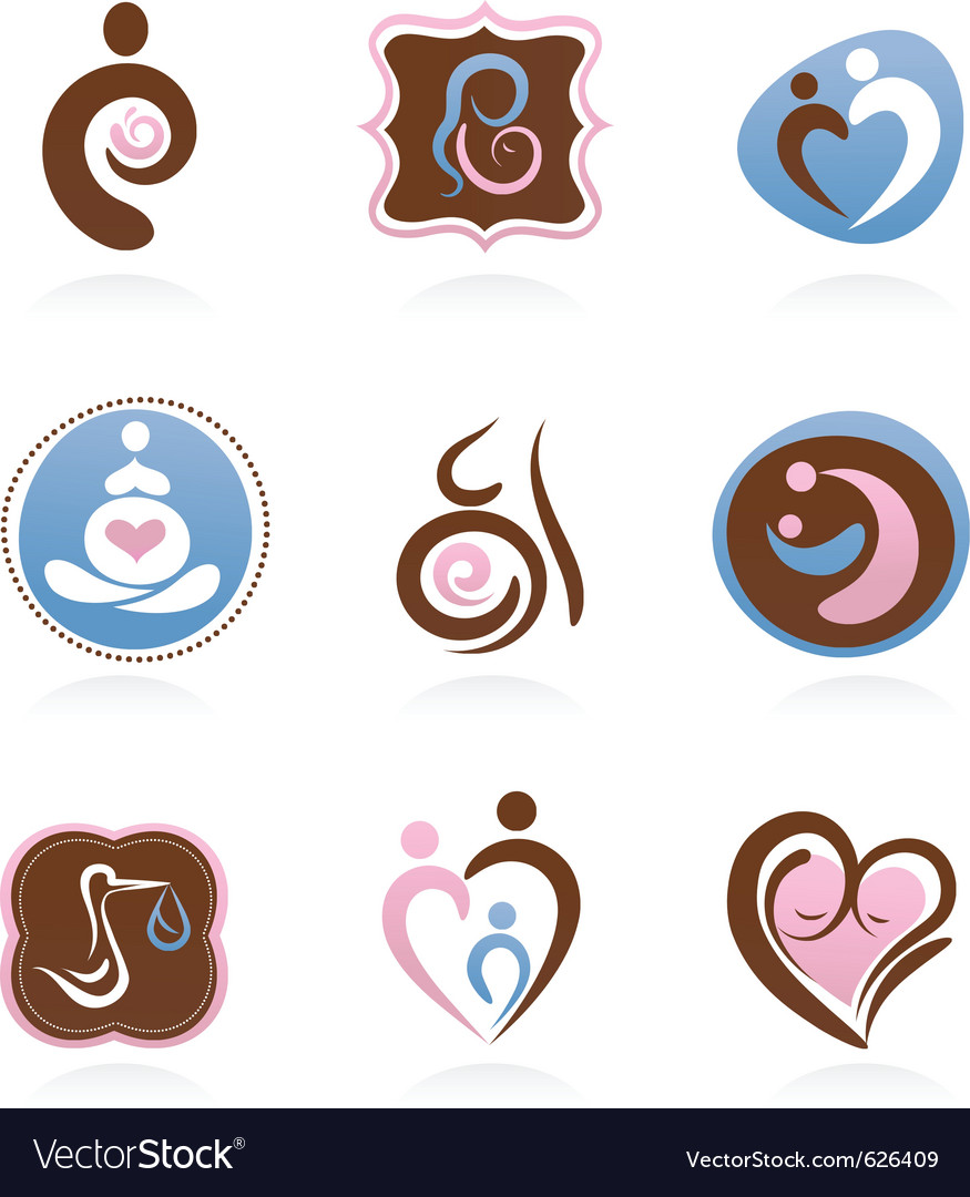 Collection of motherhood icons vector | Price: 1 Credit (USD $1)