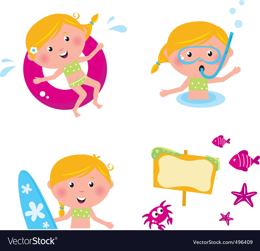 collection summer kids vector | Price: 1 Credit (USD $1)