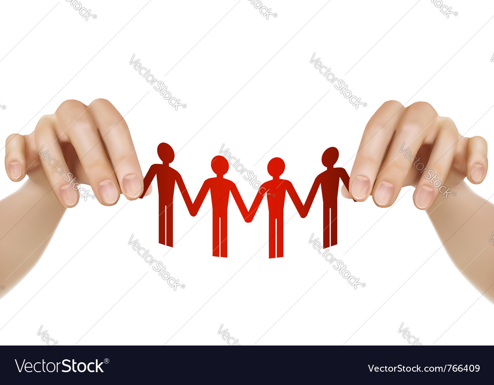 Female hands holding paper people vector | Price: 3 Credit (USD $3)
