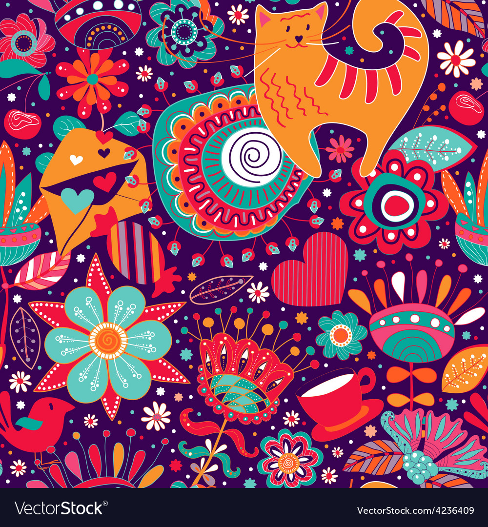 Flowers seamless pattern with decorative elements vector   Price: 1 Credit (USD $1)