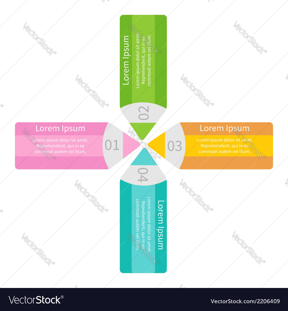 Four pencils template set infographic vector | Price: 1 Credit (USD $1)