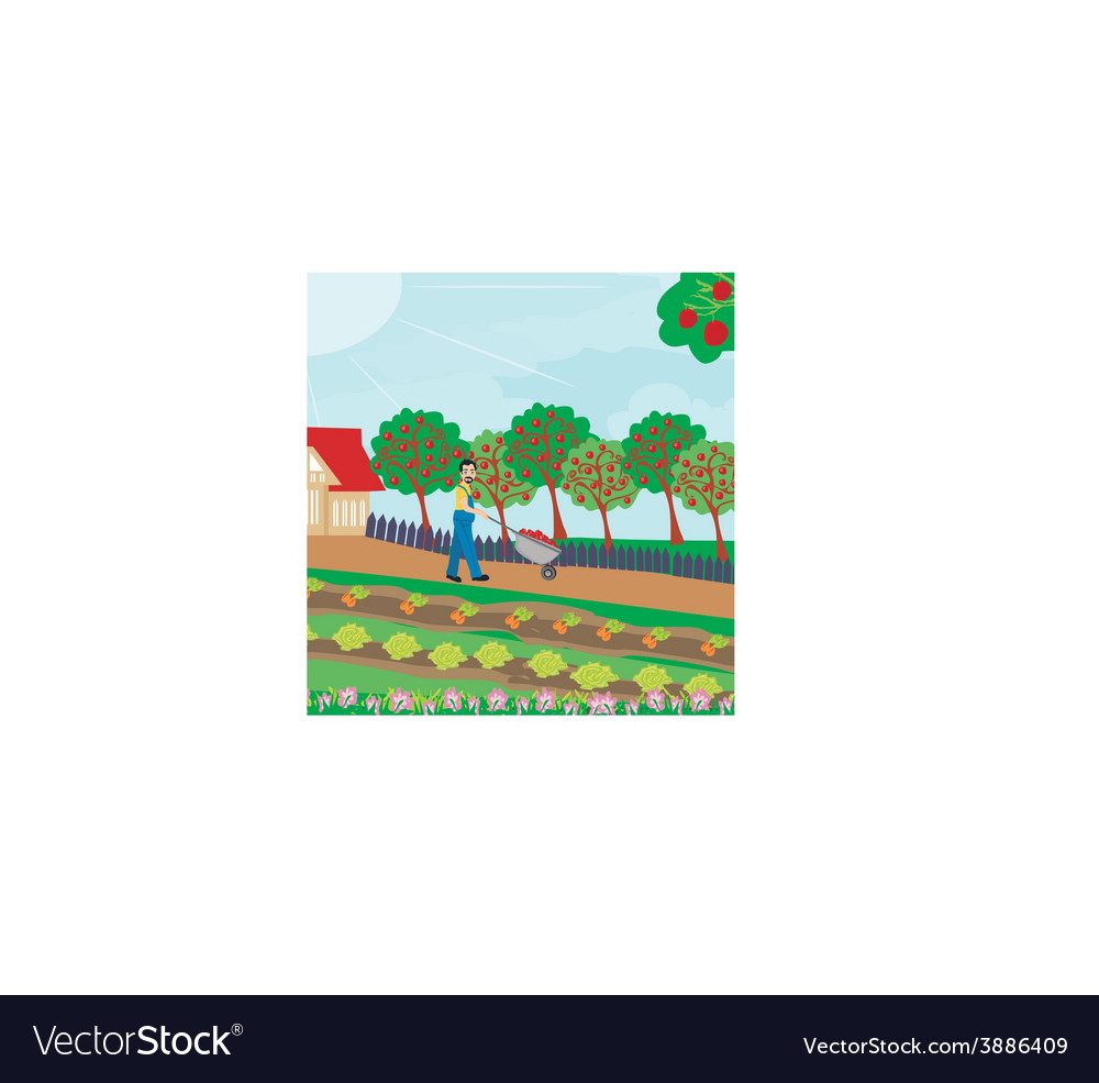 Gardener in the orchard vector | Price: 1 Credit (USD $1)