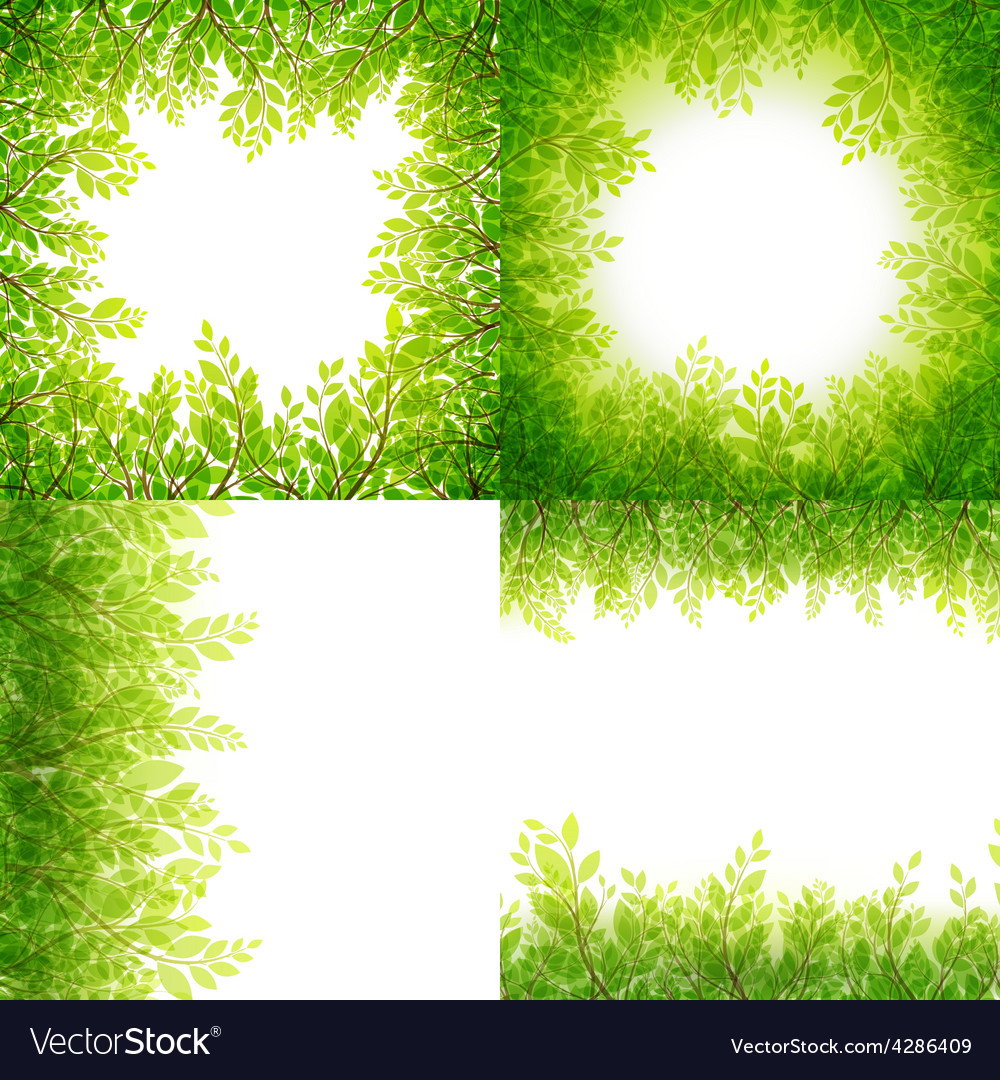 Green leaves frame set isolated on white eps 10 vector | Price: 3 Credit (USD $3)
