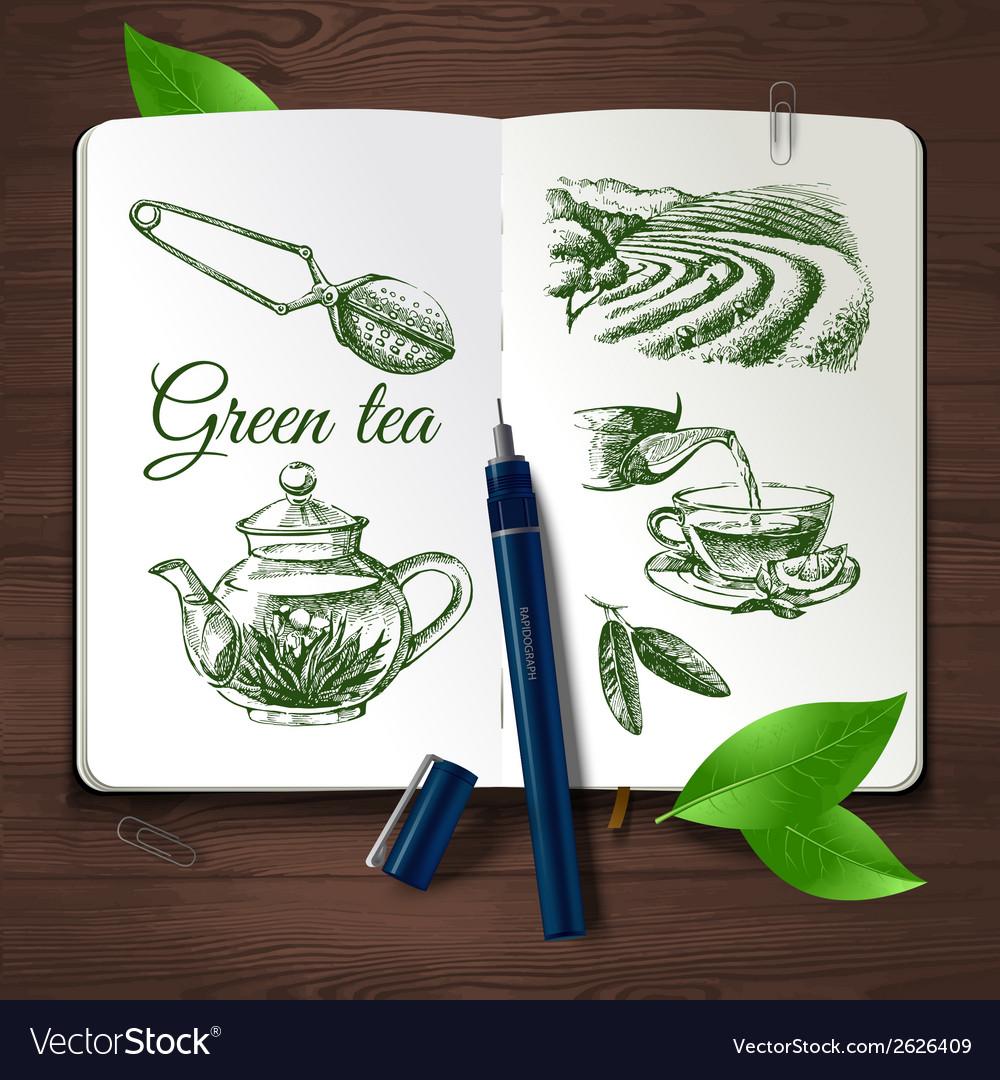 Hand drawn sketch tea set vector | Price: 1 Credit (USD $1)