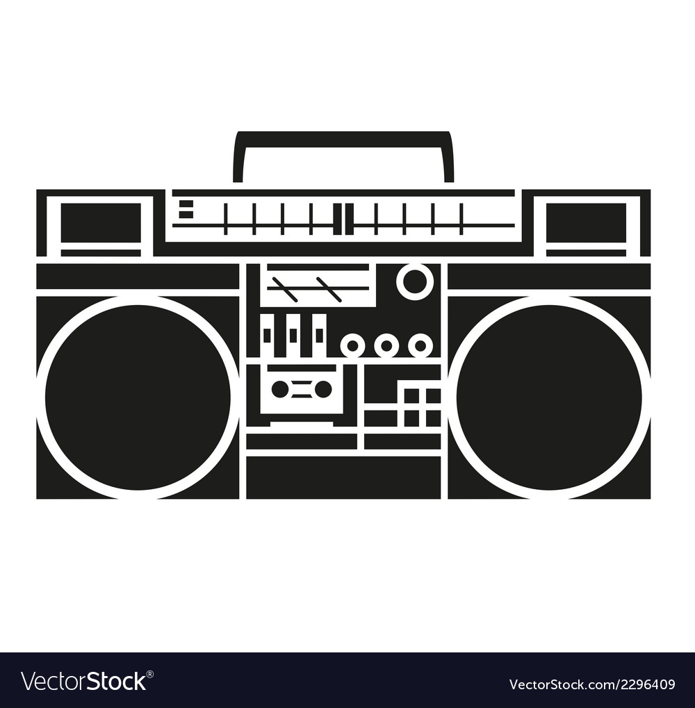 Vintage radio cassette player vector | Price: 1 Credit (USD $1)