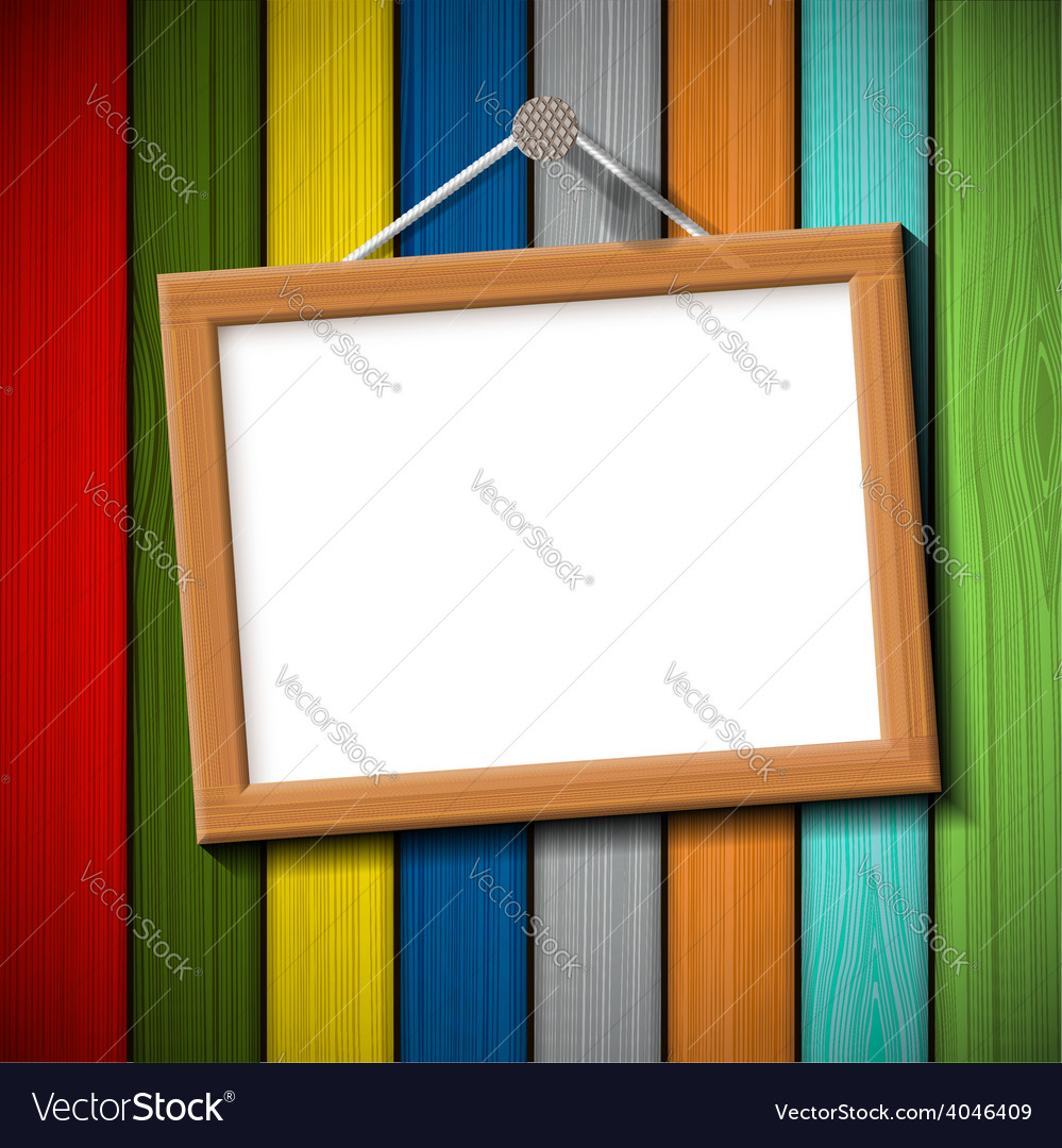 Wooden frame on a colored wall vector | Price: 1 Credit (USD $1)