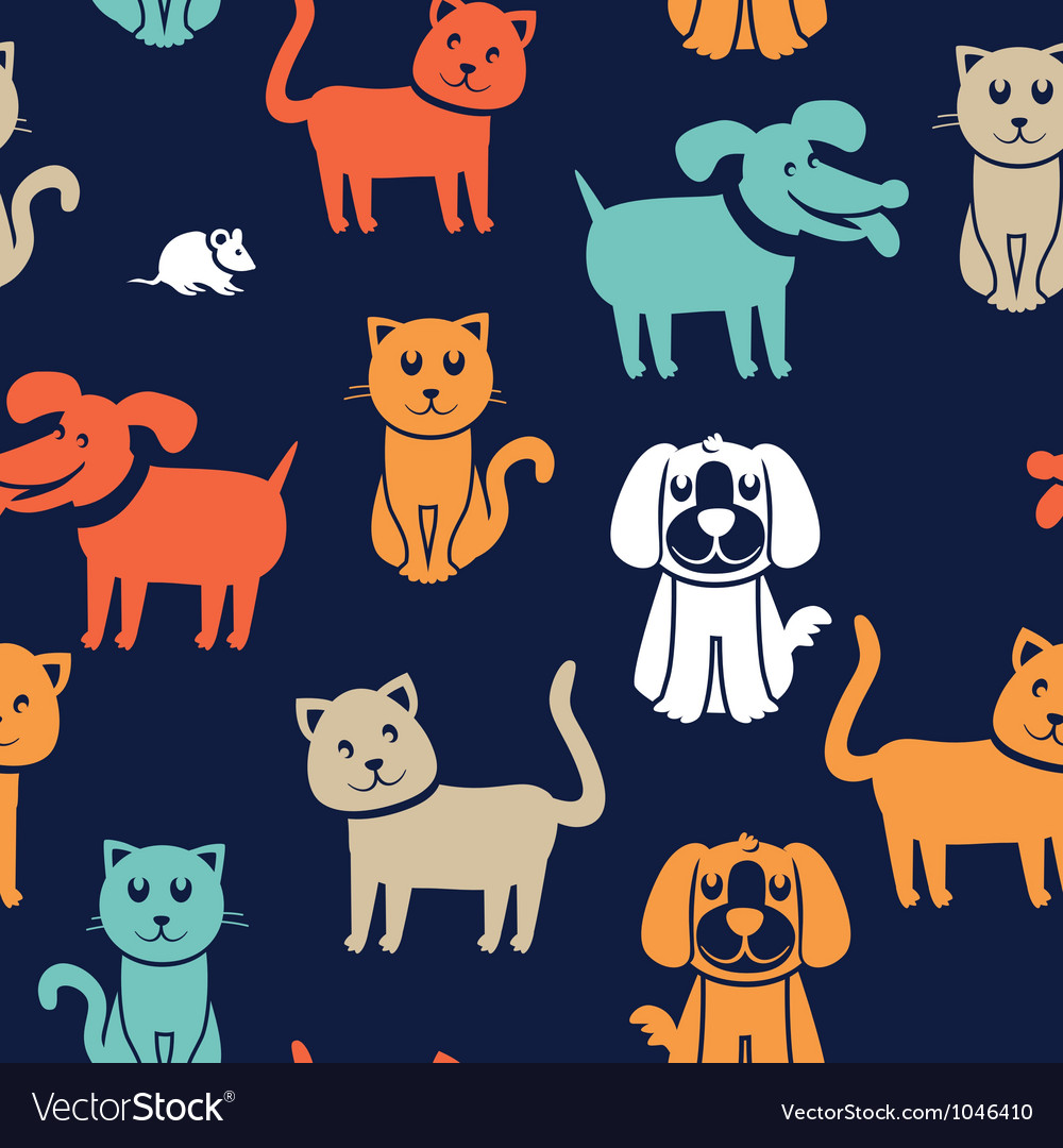 Cartoon seamless pattern with funny cats and dogs vector   Price: 1 Credit (USD $1)