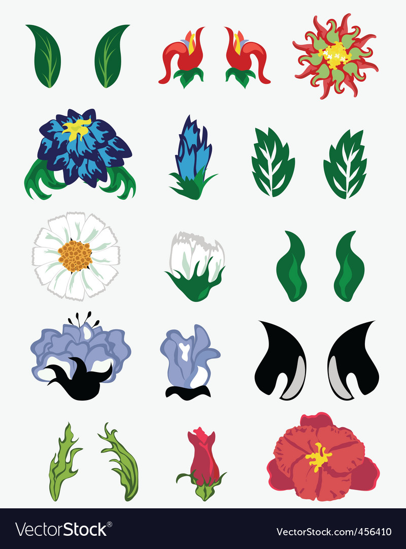 Flower set vector | Price: 1 Credit (USD $1)