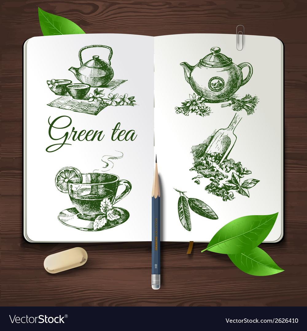 Hand drawn sketch tea set vector   Price: 1 Credit (USD $1)