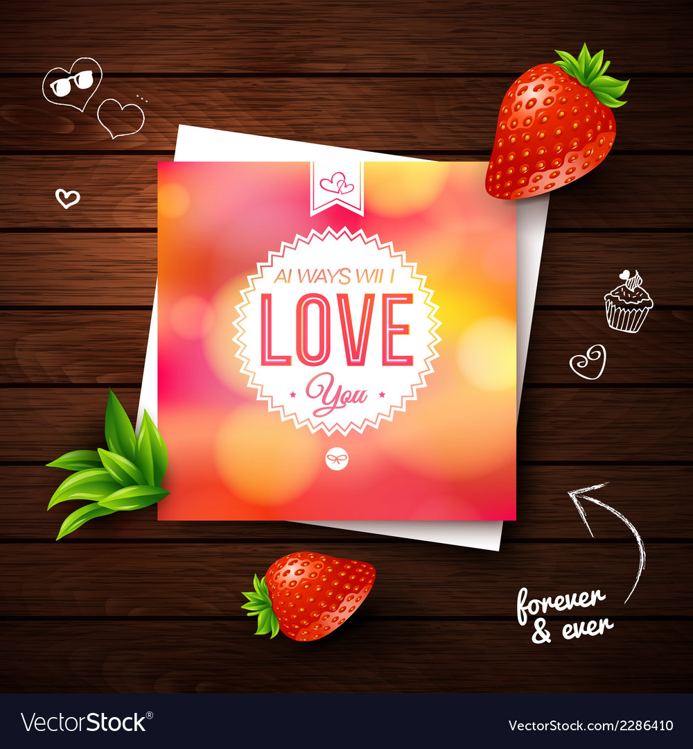 Love you card romantic design on wooden background vector | Price: 1 Credit (USD $1)
