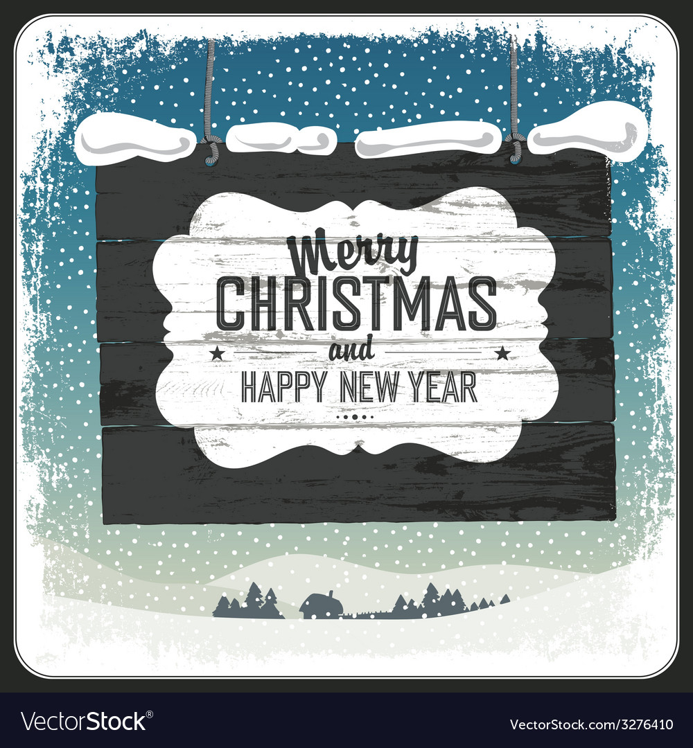 Merry christmas wooden sign vector | Price: 1 Credit (USD $1)