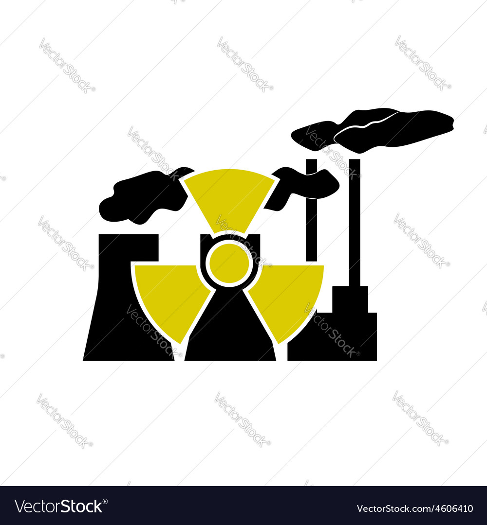 Nuclear station and radioactive sign vector | Price: 1 Credit (USD $1)