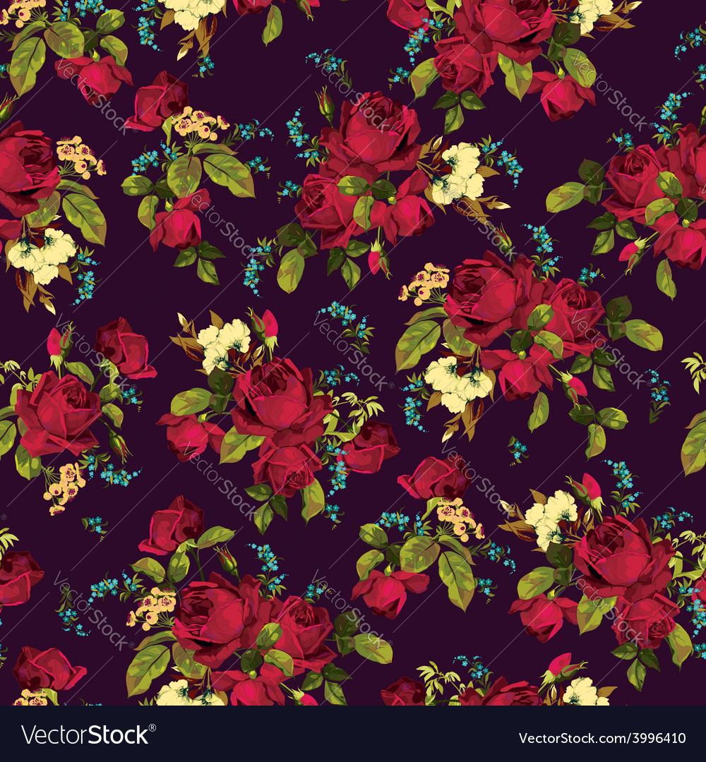 Seamless floral pattern with red roses on dark vector | Price: 1 Credit (USD $1)