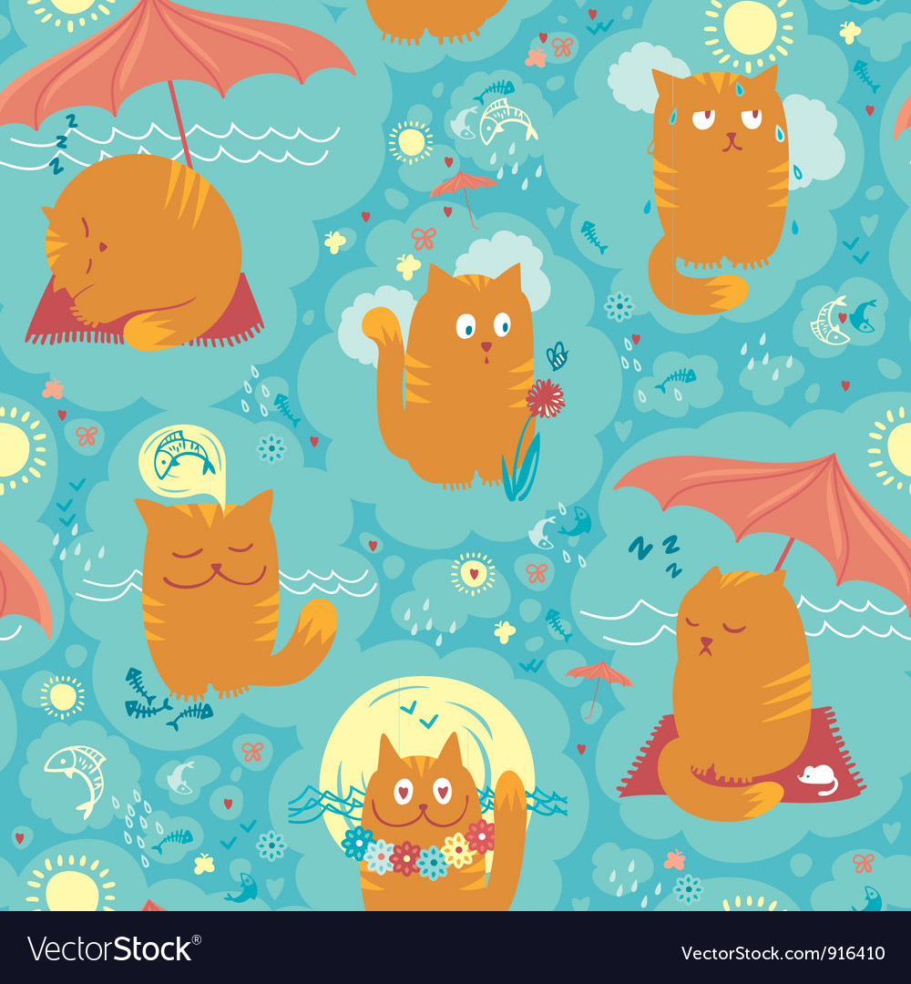 Seamless pattern summer cats vector | Price: 1 Credit (USD $1)