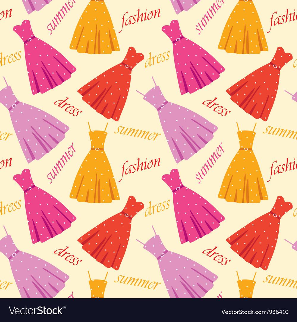 Seamless summer dresses pattern vector