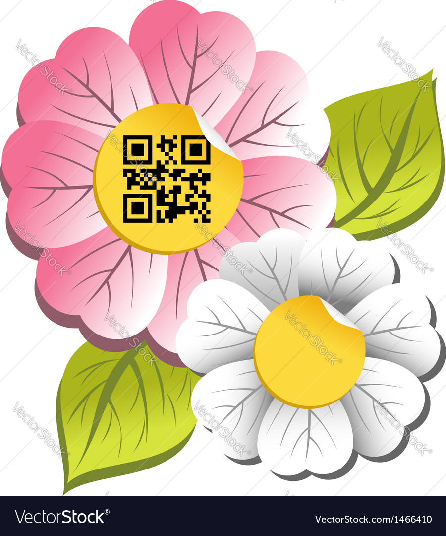 Spring time flower with qr code label vector   Price: 1 Credit (USD $1)