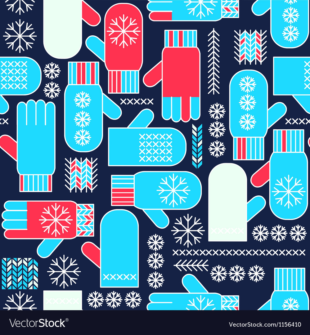 Winter mittens snowflake seamless pattern vector | Price: 1 Credit (USD $1)