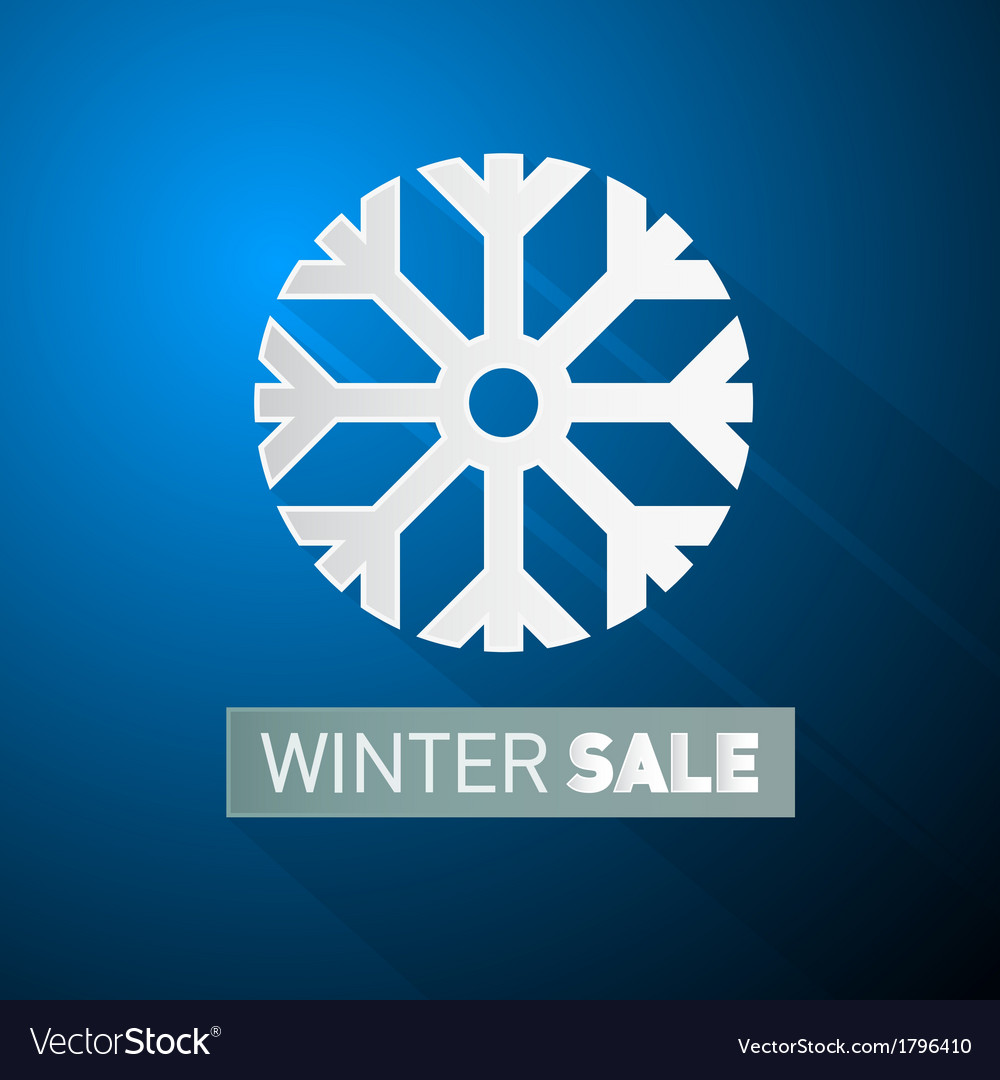 Winter sale theme with snowflake on blue vector | Price: 1 Credit (USD $1)