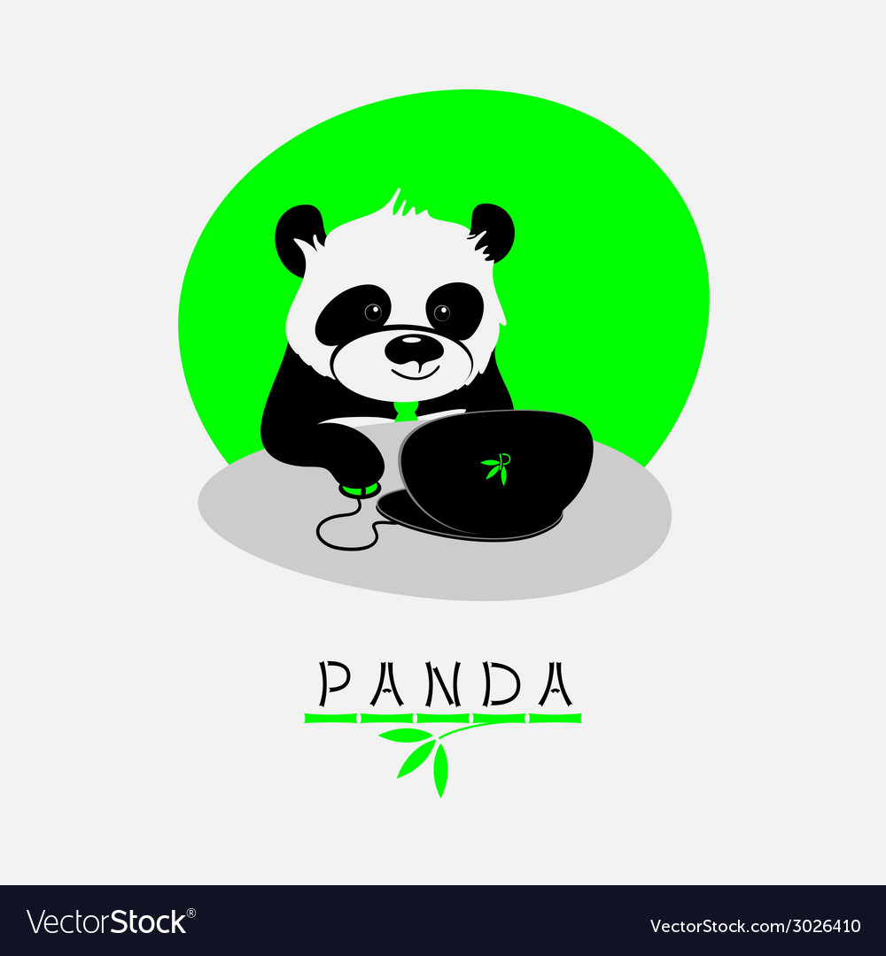 With cartoon panda sitting at his notebook vector | Price: 1 Credit (USD $1)