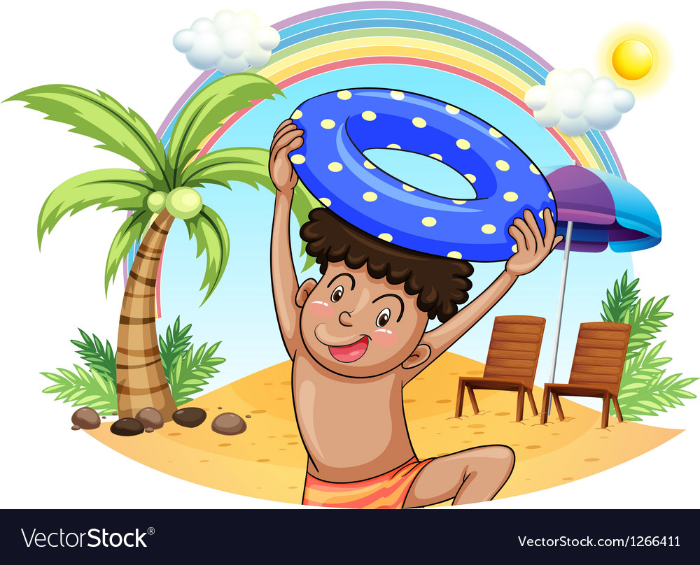 A young boy enjoying at the beach vector | Price: 1 Credit (USD $1)
