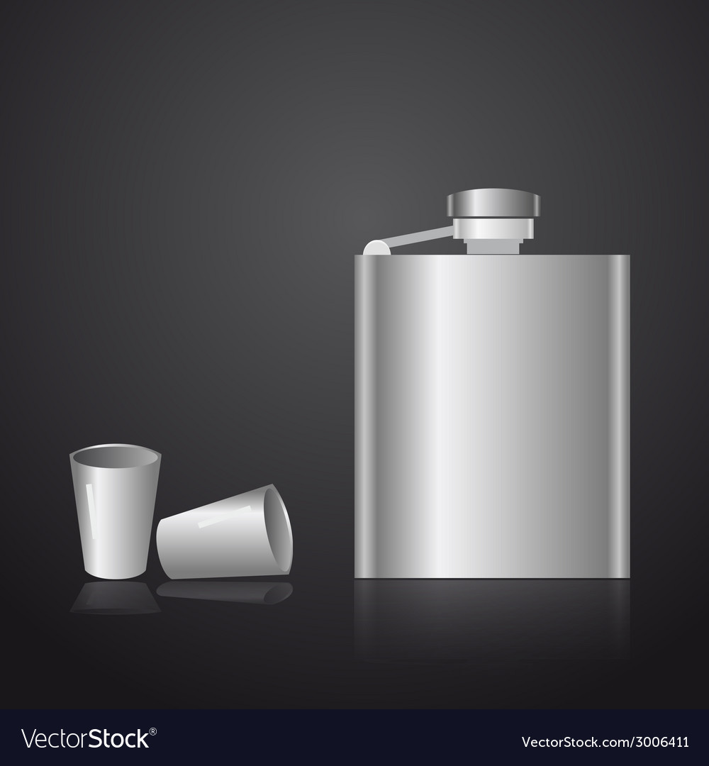 Alcohol silver hip flask eps10 vector | Price: 1 Credit (USD $1)