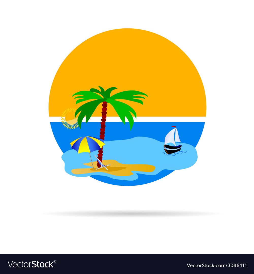 Beach with palm tree vector | Price: 1 Credit (USD $1)