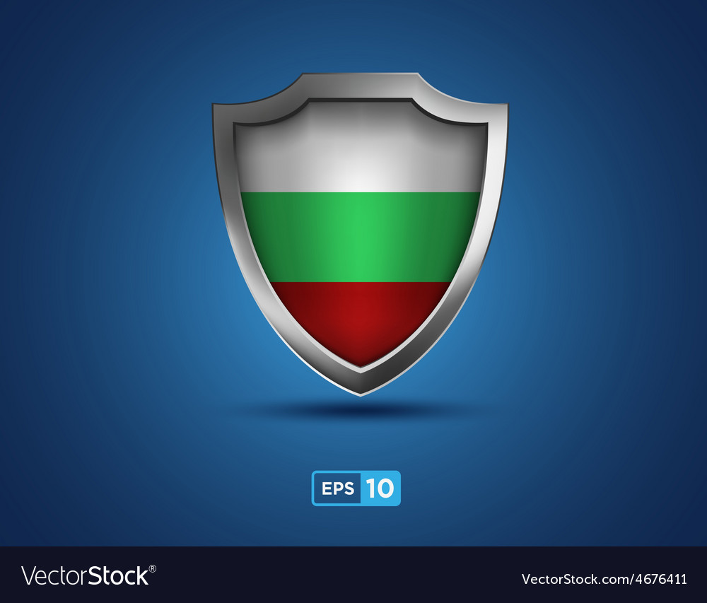Bulgaria shield on the blue background vector | Price: 1 Credit (USD $1)