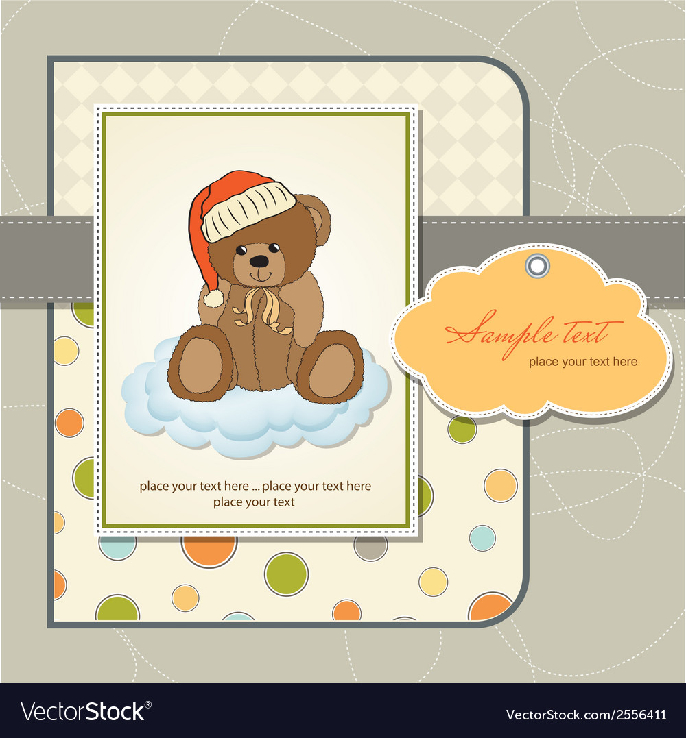 Customizable greeting card with teddy bear vector | Price: 1 Credit (USD $1)