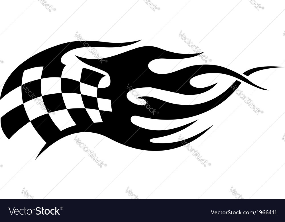 Flaming black and white checkered flag tattoo vector | Price: 1 Credit (USD $1)