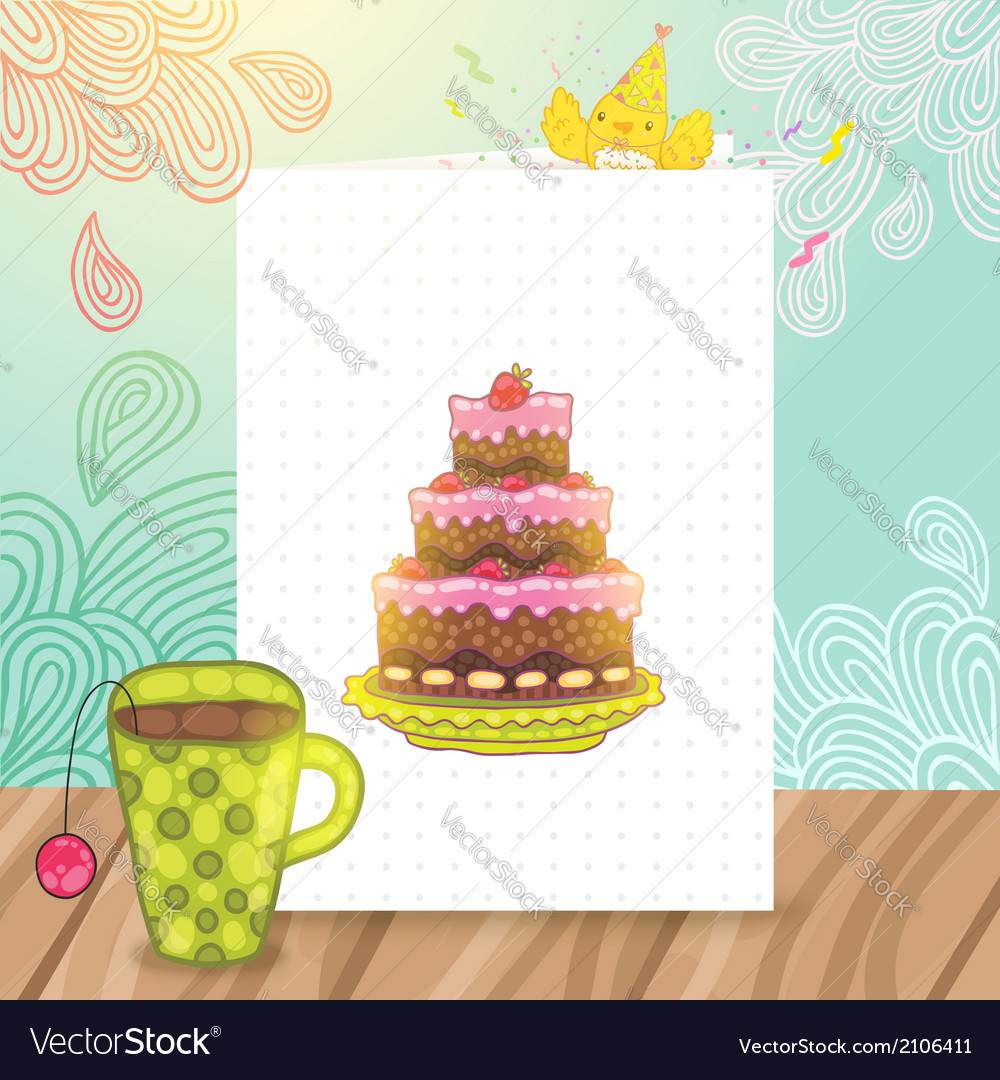 Happy birthday postcard with cake and cup of tea vector | Price: 1 Credit (USD $1)