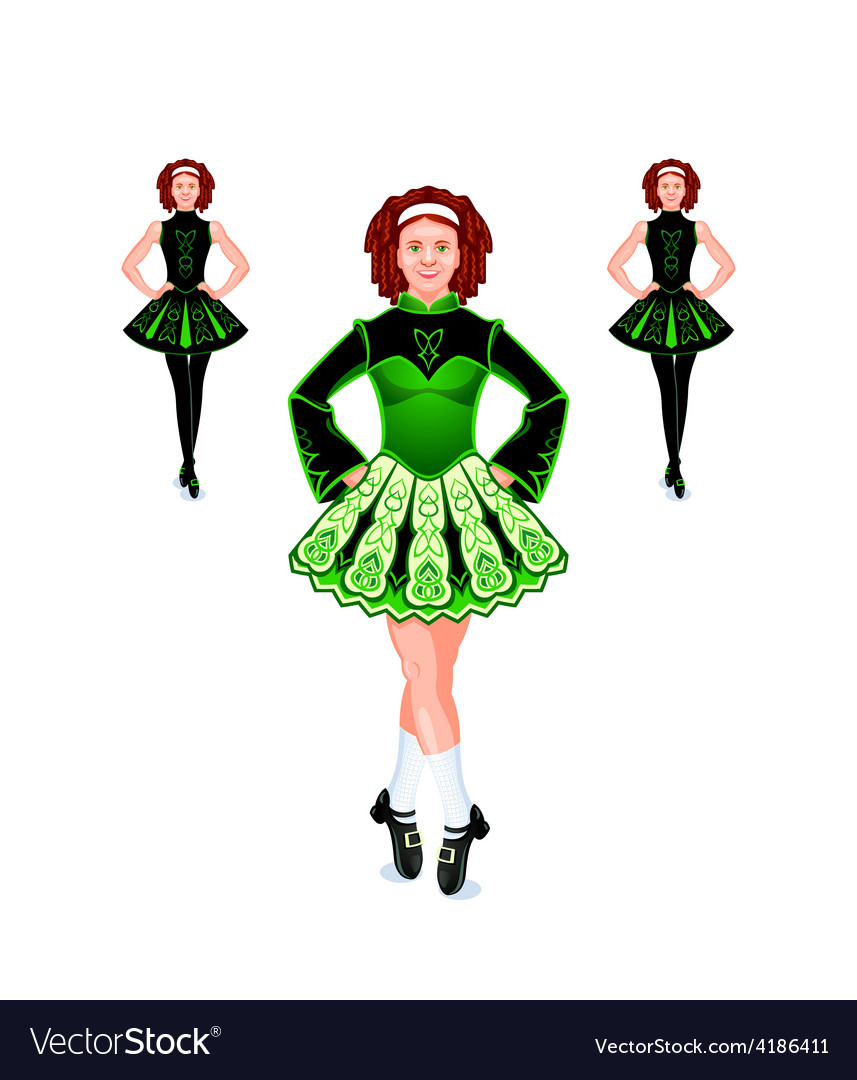 Irish dancers trio vector | Price: 1 Credit (USD $1)