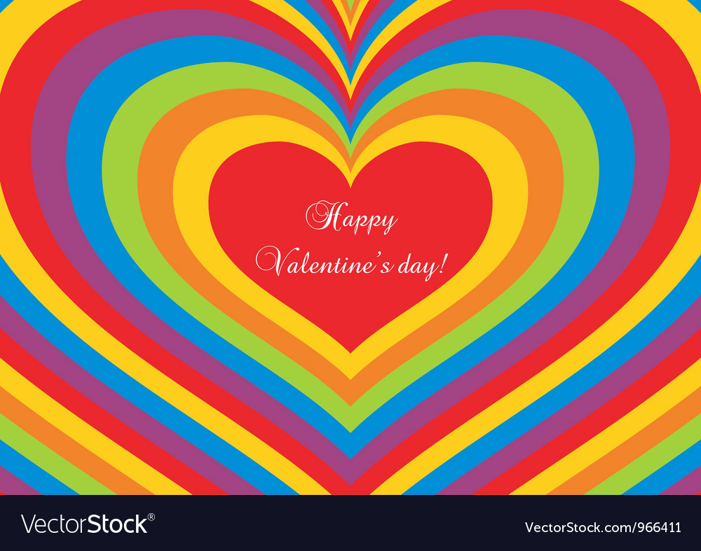 Psychedelic heart valentines day postcard vector | Price: 1 Credit (USD $1)