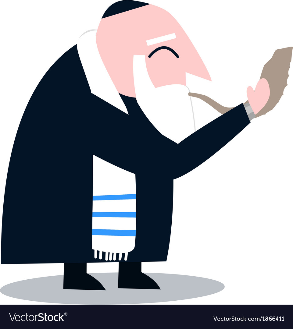 Rabbi with talit blows the shofar vector | Price: 1 Credit (USD $1)