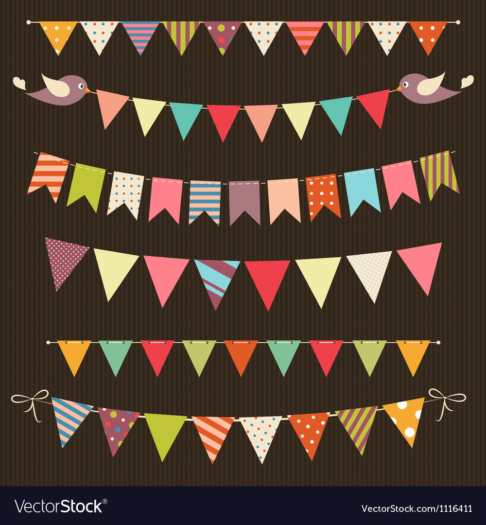 Retro bunting and garland set vector | Price: 1 Credit (USD $1)