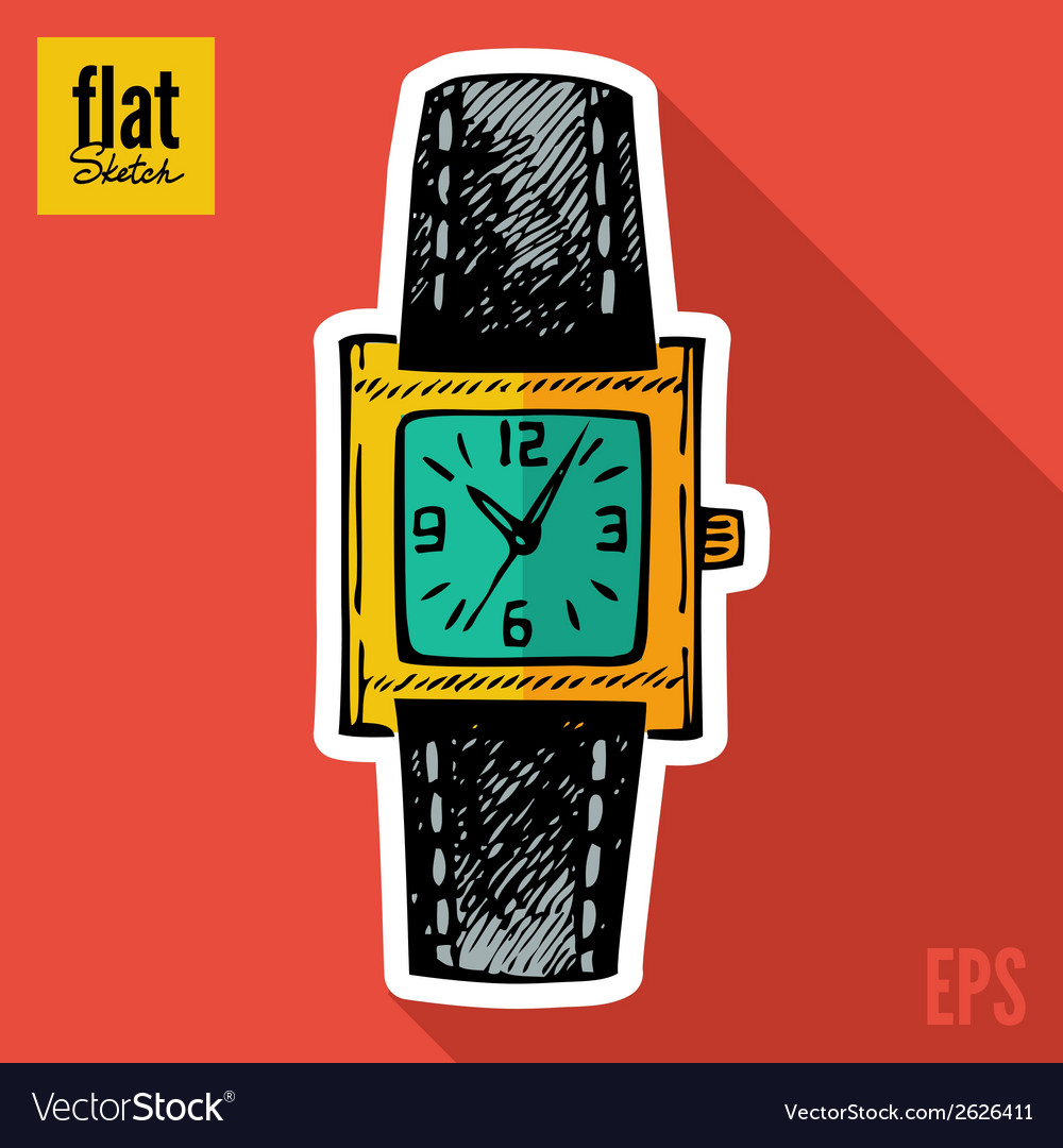 Sketch style hand drawn clock flat icon vector | Price: 1 Credit (USD $1)