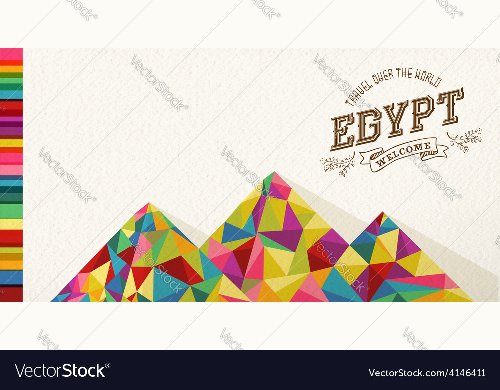 Travel egypt landmark polygonal monument vector | Price: 1 Credit (USD $1)