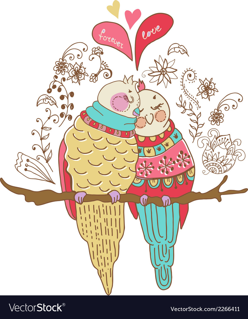 Two cute birds in love colorful vector | Price: 1 Credit (USD $1)