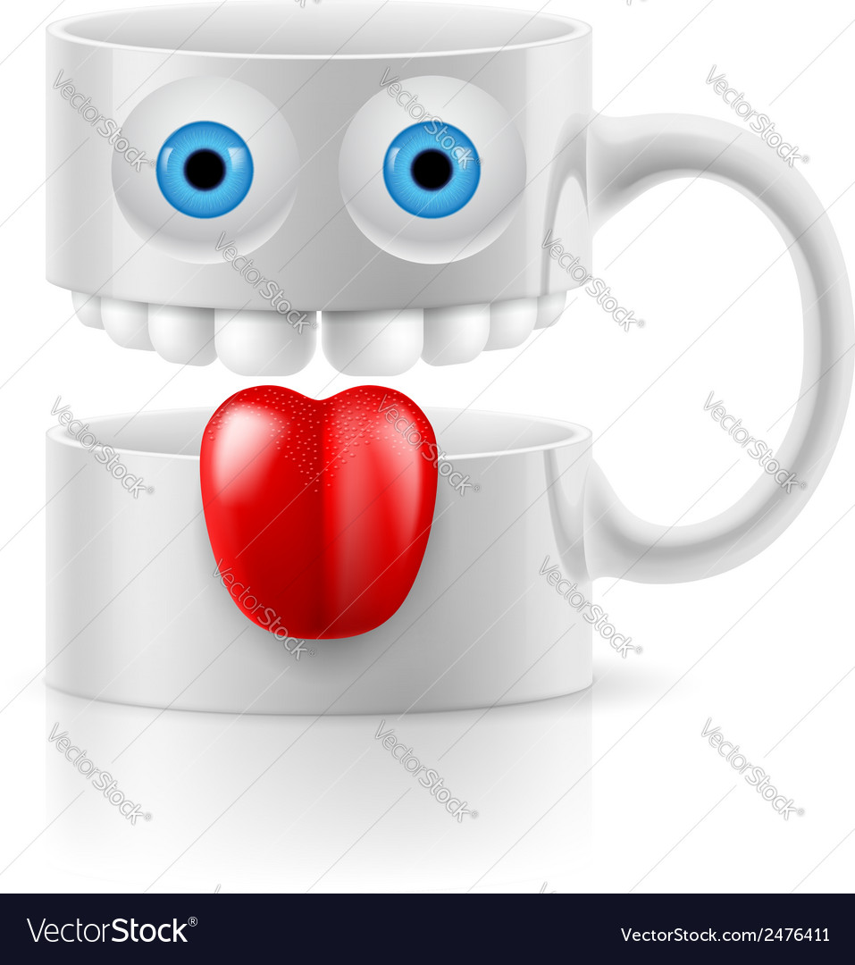 White mug of two parts with two eyes teeth and vector | Price: 1 Credit (USD $1)