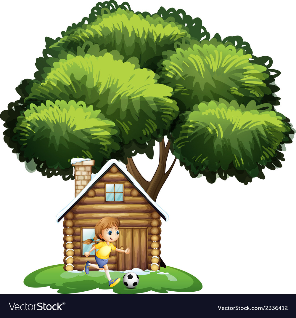 A girl playing soccer outside the house vector | Price: 3 Credit (USD $3)